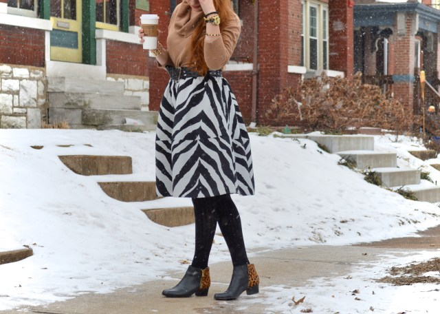 South St Louis City - Zebra circle midi skirt with leopard booties and a cat watch near Hartford Coffe Co (2)