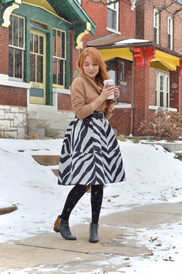 South St Louis City - Zebra circle midi skirt with leopard booties and a cat watch near Hartford Coffe Co (4)