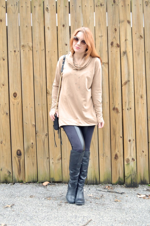 Nygard Slims Pleather Leggings with Rebecca Minkoff Crossbody Purse and Pullover - Winter Outfit - Oh Julia Ann (2)