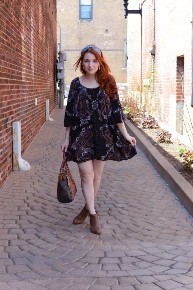 Free People Dress with Anthro Headband and Naturalizer Booties Outfit - Oh Julia Ann - St Louis Fashion Blog (2)