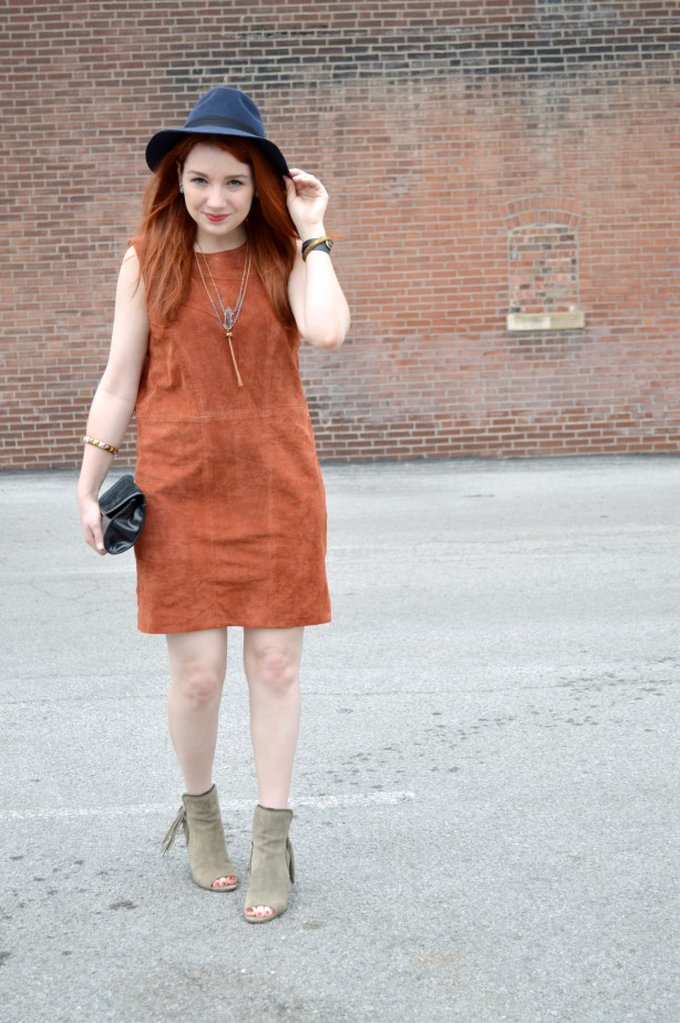 Oh Julia Ann - Suede Tobi Shift Dress with Peep Toe Fringe Diba True Booties and Lace Bralette Outfit (2)