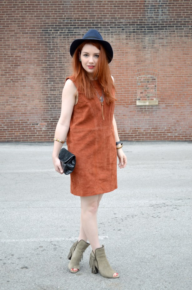 Oh Julia Ann - Suede Tobi Shift Dress with Peep Toe Fringe Diba True Booties and Lace Bralette Outfit (3)