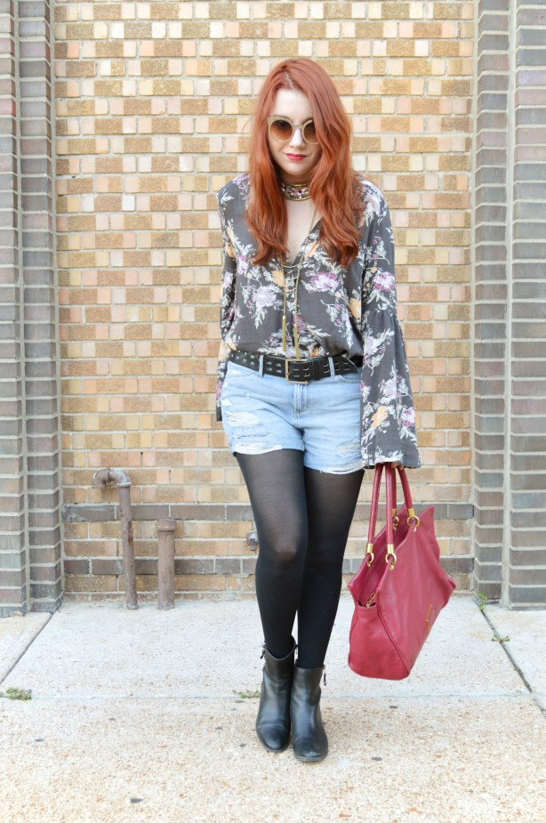 Free People Bell Sleeve Blouse with Denim Cut Off Shorts, Tights, and Booties - Summer Outfit by Oh Julia Ann (3)