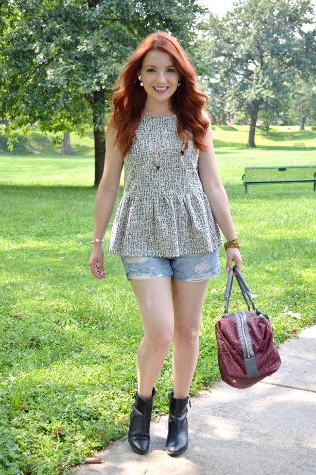 Summer Outfit Idea - Peplum Anthropologie blouse with cut off denim shorts, a LeSportsac purse, and Naturalizer booties - See more at OhJuliaAnn.com (1)