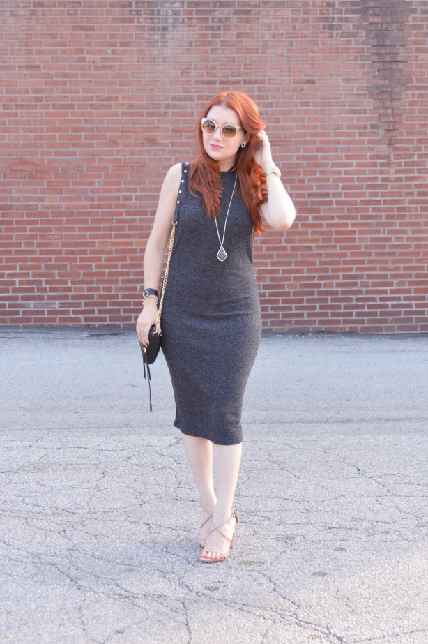 Knit Midi Dress by Tobi with Kendra Scott Jewelry and Strappy Steve Madden Heels - Outfir by Oh Julia Ann (7)