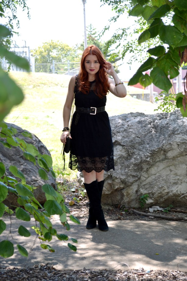 Black Lace Black Dress LBD Outfit - Witchy Autumn Look with Black Steve Madden Boots and Rebecca Minkoff Zip Crossbody Bag - Outfit by Oh Julia Ann (1)