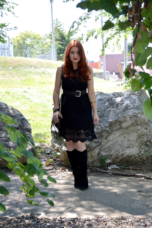 Black Lace Black Dress LBD Outfit - Witchy Autumn Look with Black Steve Madden Boots and Rebecca Minkoff Zip Crossbody Bag - Outfit by Oh Julia Ann (3)