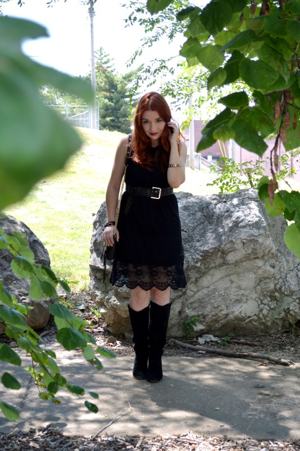 Black Lace Black Dress LBD Outfit - Witchy Autumn Look with Black Steve Madden Boots and Rebecca Minkoff Zip Crossbody Bag - Outfit by Oh Julia Ann (5)