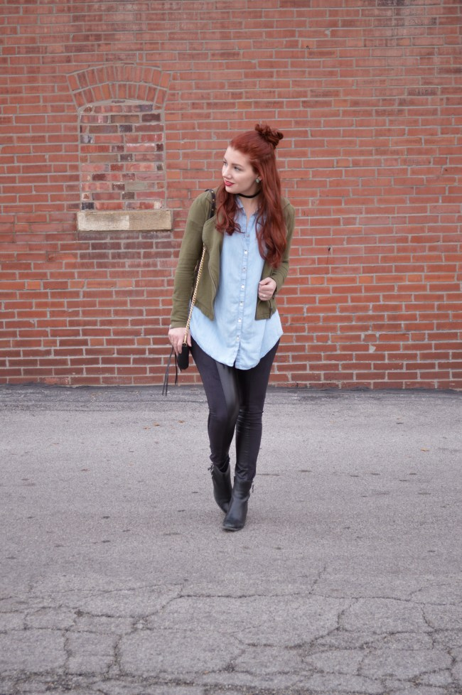 Forever Comfy | Chambray + Faux Leather Leggings