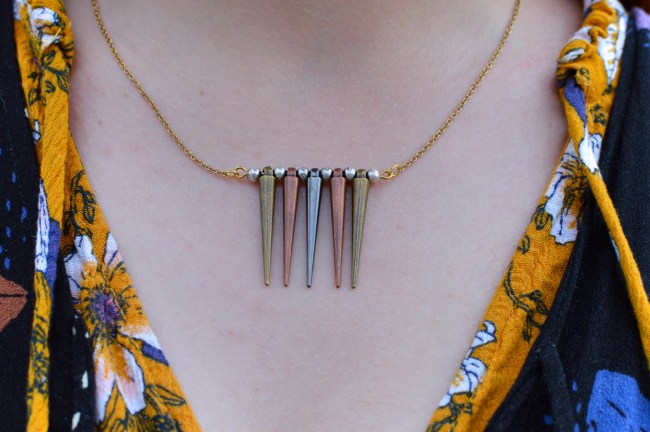 Cone Studs + Teen Angst | Easy DIY Mixed-Metal Spike Necklace Tutorial