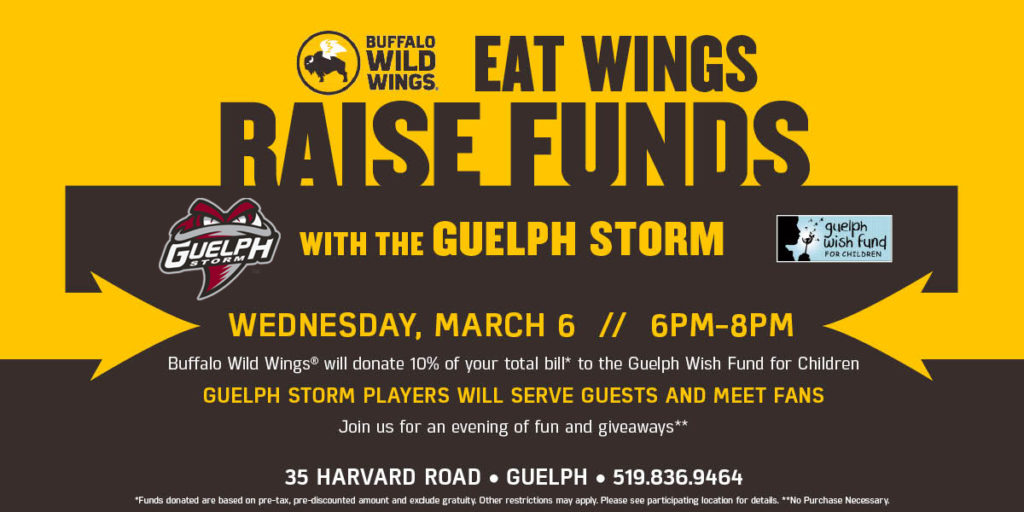 Buffalo Wild Wings Charity Server Night on March 6th \u2013 Guelph Storm