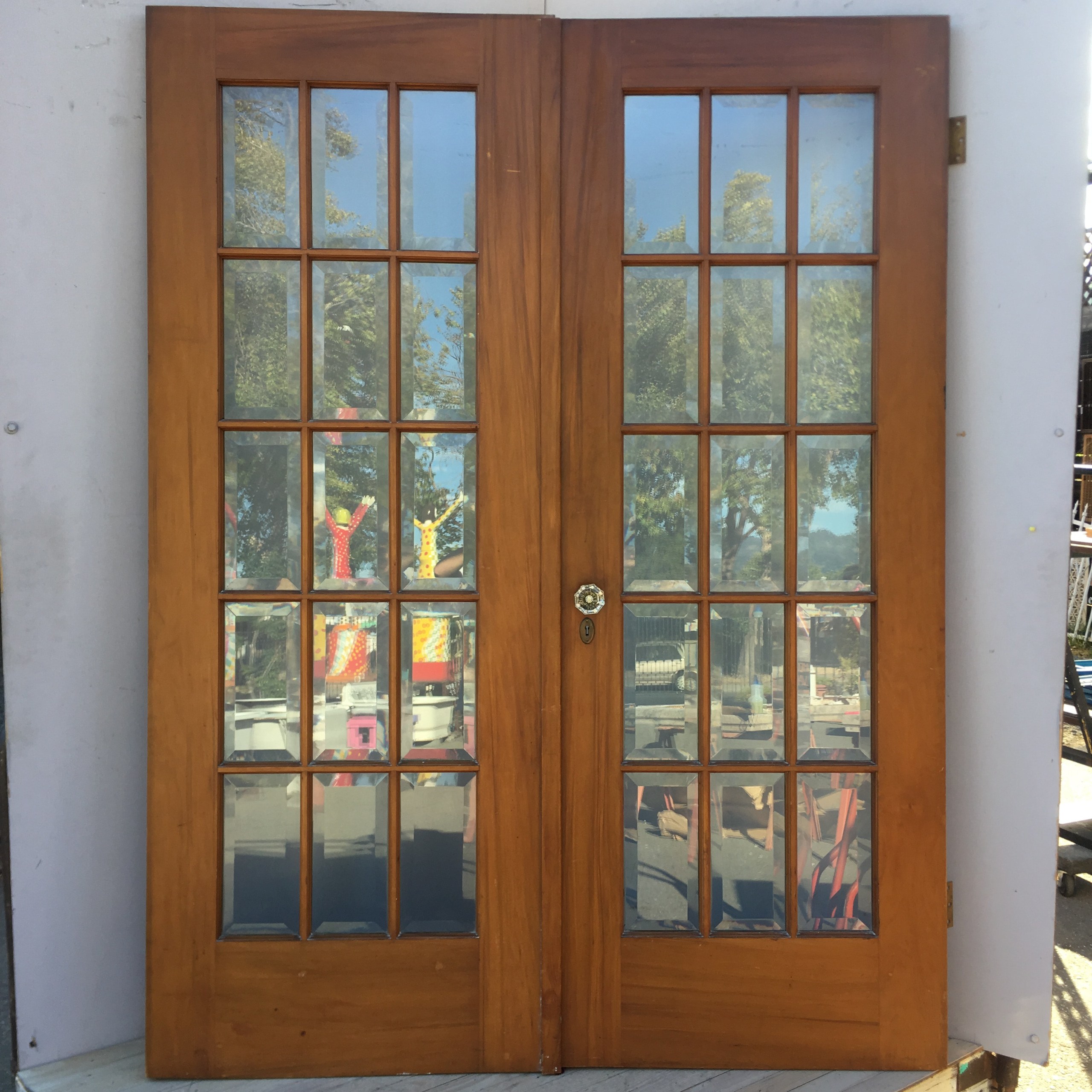 Gumwood Pair Craftsman Beveled Glass Gumwood Doors