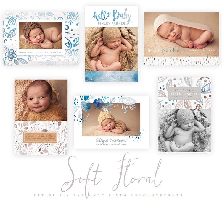 Soft Floral 5x7 WHCC Birth Announcement Cards - Oh Snap Boutique