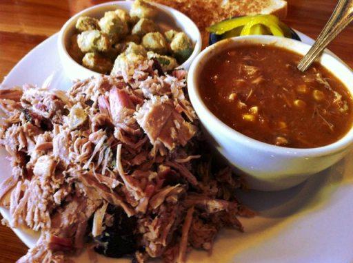 Smoked Pork (Chopped), Brunswick Stew, Fried Okra