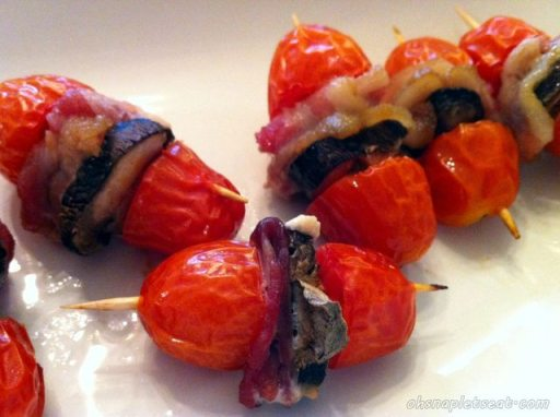 Baked Tomato Bites with Bacon and Portobello Mushrooms