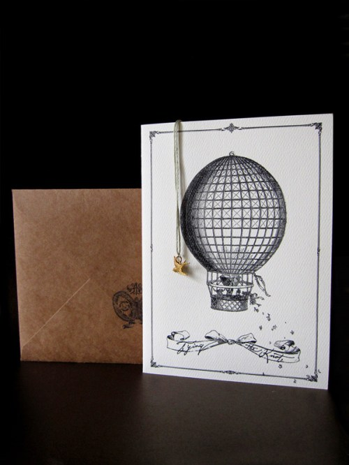 hot air balloon wedding invitation 500x666 Caitlin + Josephs Vintage Aviation Wedding Invitations