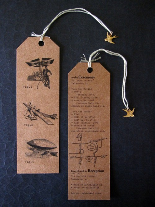kraft paper aviation wedding invitation 500x666 Caitlin + Josephs Vintage Aviation Wedding Invitations