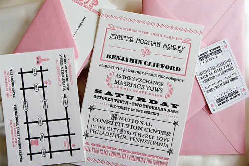 pink black white letterpress wedding invitations 500x335 Pink, Black + White Invitations