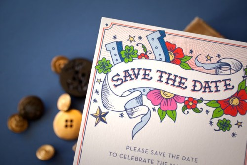 Hello Lucky Wedding Save the Date 500x333 New Giveaway! Letterpress Wedding Invitations or Save the Dates from Hello!Lucky