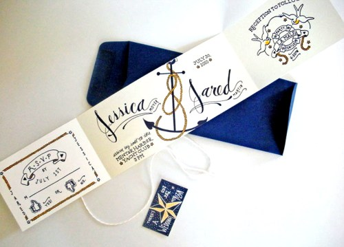 Jessica Jared Sailor Tattoo Wedding Invitations 500x359 Sailor Tattoo Inspired Wedding Invitations