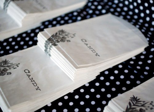 black white letterpress candy bags 500x363 Christine + Jasons Polka Dot and Floral Wedding invitations