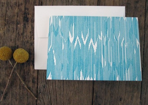 blue letterpress ikat cards 500x357 Bow + Arrow