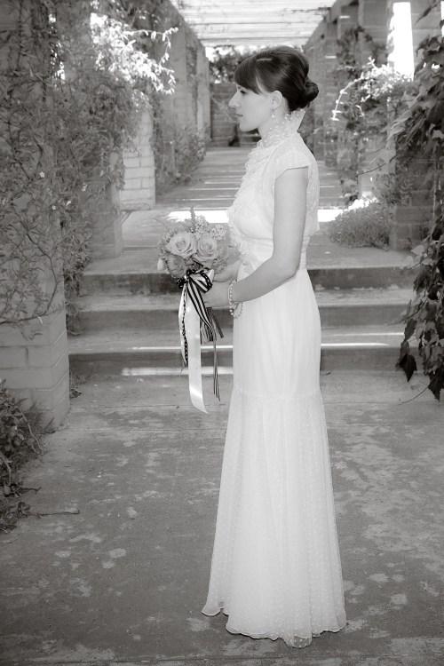 christine swiss dot wedding dress 500x750 Christine + Jasons Polka Dot and Floral Wedding invitations