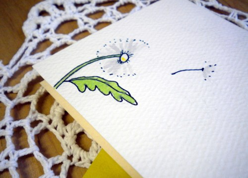 dandelion best wishes 500x359 Illustrated Note Cards   Betsy Ann Paper