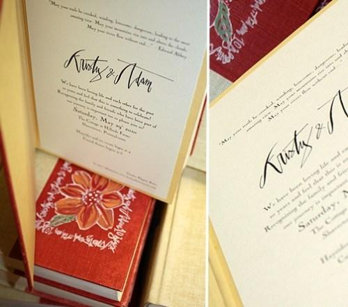final vintage book invitations 500x441 Kristy + Adams Vintage Book Invitations