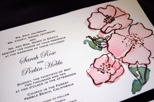garden rose suite2 500x332 Hand Painted Watercolor Vintage Garden Rose Invitation Suite