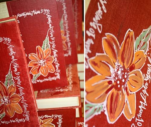 handpainted vintage book invitations flowers Kristy + Adams Vintage Book Invitations