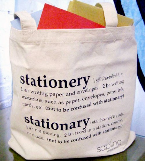 stationery vs stationary1 500x553 Stationery vs. Stationary Tote Bags