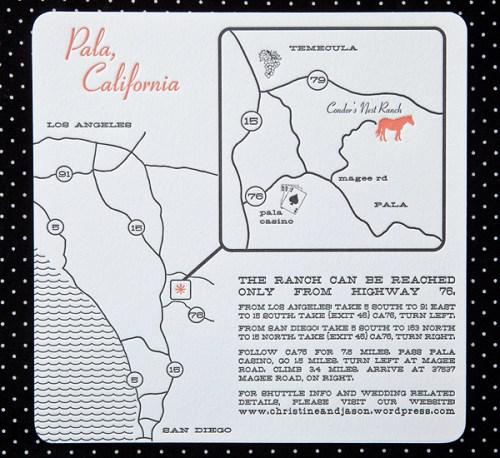 swiss dot wedding map directions 500x458 Christine + Jasons Polka Dot and Floral Wedding invitations