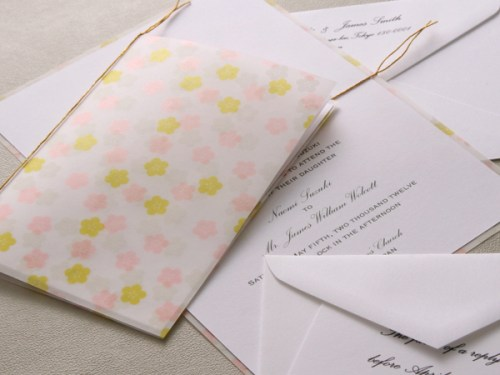 washi paper wedding invitation 500x375 Winged Wheel