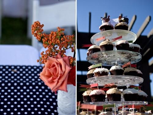 wedding cupcakes roses 500x375 Christine + Jasons Polka Dot and Floral Wedding invitations