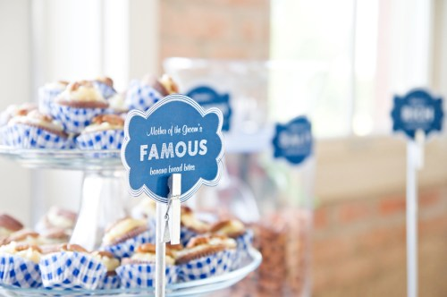 wedding dessert bar ideas signs 500x332 Nikkis Navy + White Dessert Bar