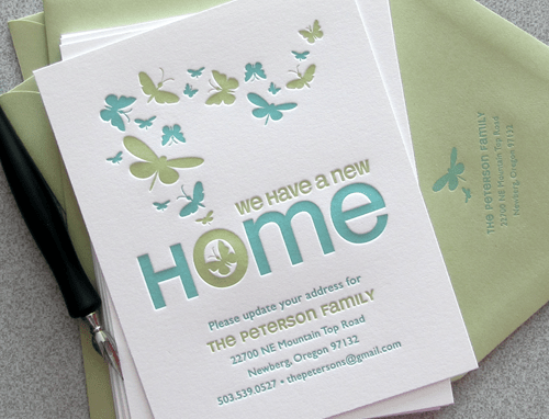 Green Letterpress Moving Announcement Birds & Butterflies
