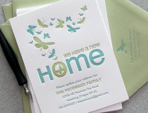 Green Letterpress Moving Announcement Birds & Butterflies