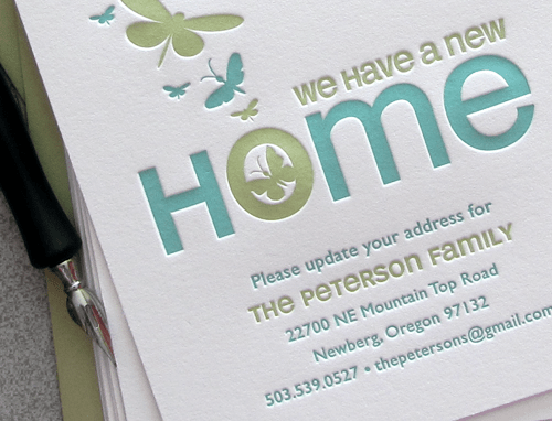 Green Letterpress Moving Announcement3 Birds & Butterflies