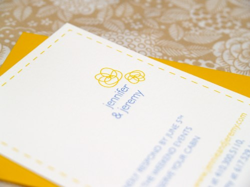 Jeremy Jennifer Yellow Blue Canoe Invitations Detail 499x374 Jeremy + Jennifers Yellow and Blue Modern Floral Wedding Invitations