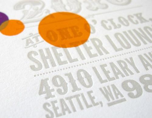 Orange Purple Letterpress Wedding Invitations5 500x390 Circus Poster Inspired Wedding Invitations