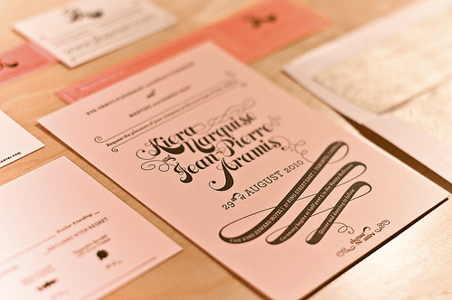 Pink Gold Letterpress Wedding Invitation Pink + Gold Wedding Invitations