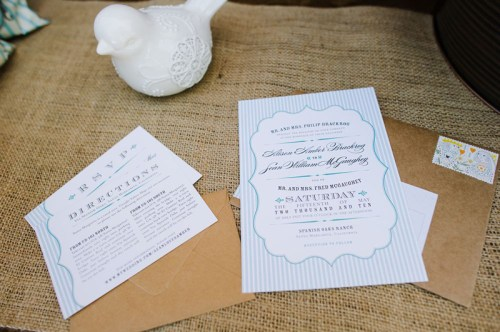 Rustic Blue White Wedding Invitations Burlap 500x332 Amber + Seans Rustic Wedding Invitations
