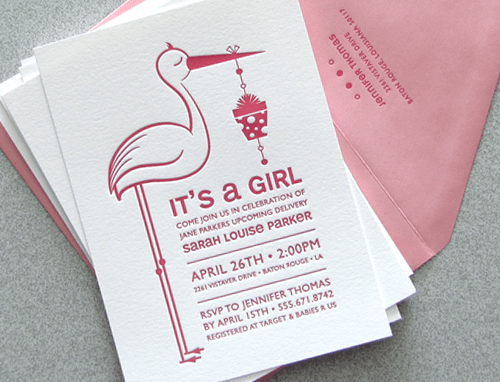 Stork Letterpress Baby Announcement2 Birds & Butterflies