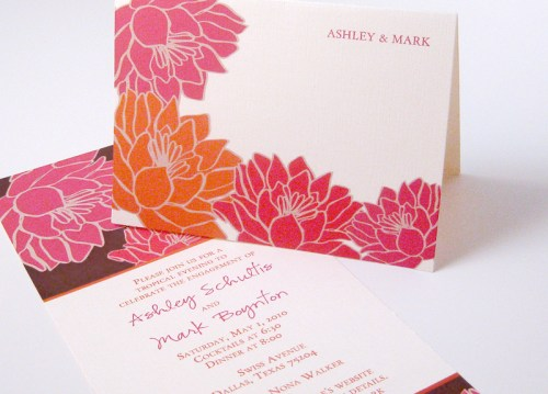 Tropical Floral Red Orange Wedding Invitation 500x359 Invitations for a Surprise Wedding!