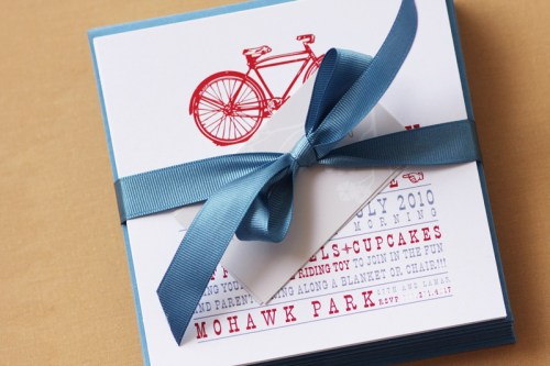 bicycle birthday party invitation ribbon 500x333 Vintage Bicycle Birthday Party Invitations