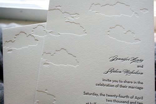 cloud letterpress wedding invitations Summer Cloud Wedding Invitations