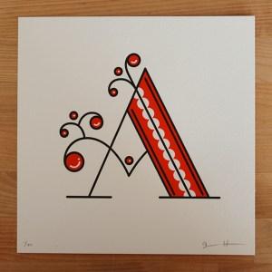 jessica hische letterpress a 300x300 Jessica Hische Letterpress Alphabet Prints