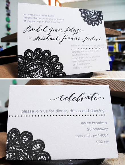 neither snow black white letterpress wedding invitation calligraphy Lovely Calligraphy from Neither Snow
