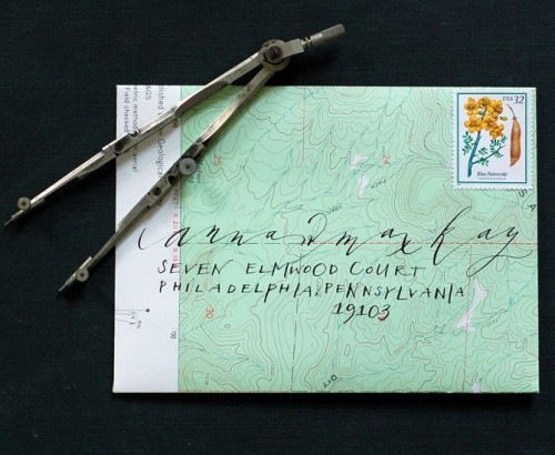 neither snow calligraphy map envelope 500x410 Lovely Calligraphy from Neither Snow